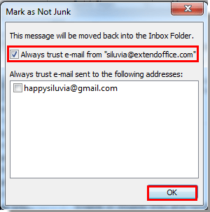 How to prevent email from going to junk in Outlook?