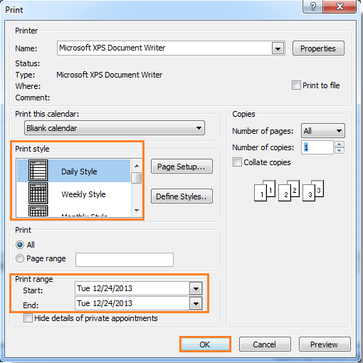 How to print blank calendar (without appointment) in Outlook?