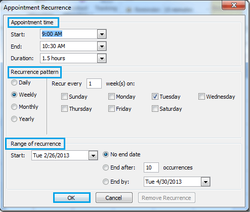 How to create recurring meetings and appointments in Outlook?