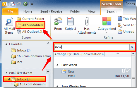How to search emails include subfolders in Outlook?