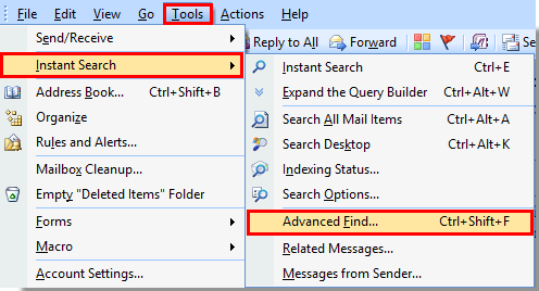 besides that you can just press the shortcut keys ctrl shift f to open the advanced find dialog box