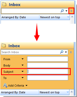 How to search subject line only in Outlook?