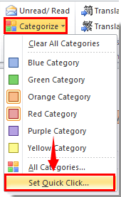 How to set quick click category or flag in Outlook?