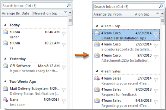 How to sort emails by sender in Outlook?