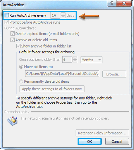 How to cancel or turn off auto archive in Outlook?