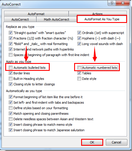 How to turn off auto bullet or numbering in Outlook?