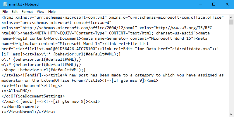 How to view source code of html email body in Outlook?