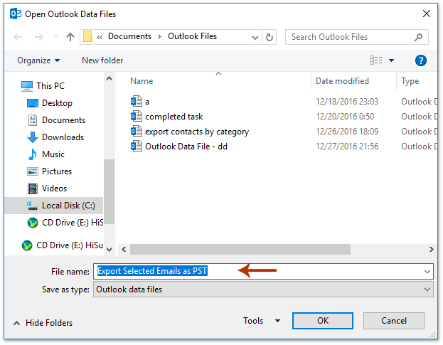 How to export bulk/selected emails to Excel/Text/PST file in Outlook?