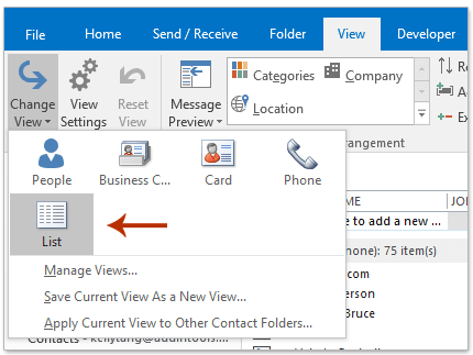 How to export Outlook contacts by category to Excel or PST file?