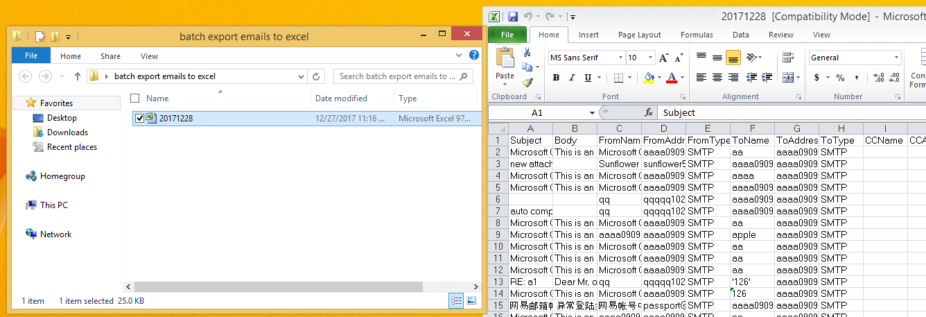 doc export email to excel file 8