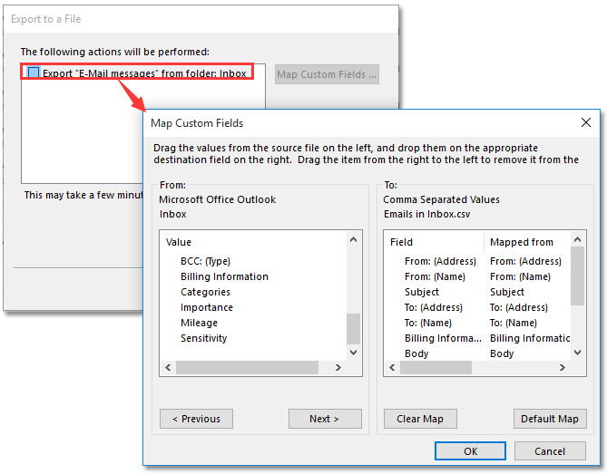 How to export all emails from an Outlook mail folder to Excel/CSV?