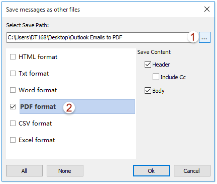 How to export an Outlook email to PDF file?