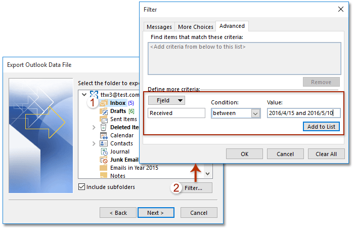 Outlook 2010 Export Pst >> How To Export Emails By Date Range To Excel File Or Pst File In Outlook