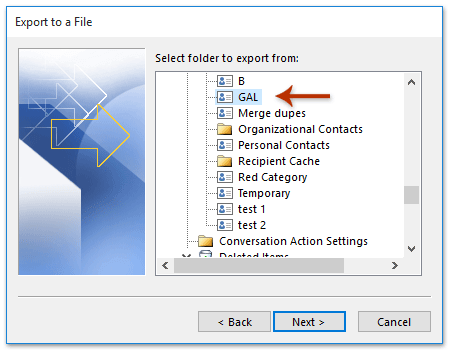How to export gal (global address list) to csv file in outlook?
