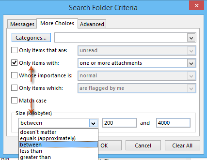 How to find out attachments by message size in Outlook?
