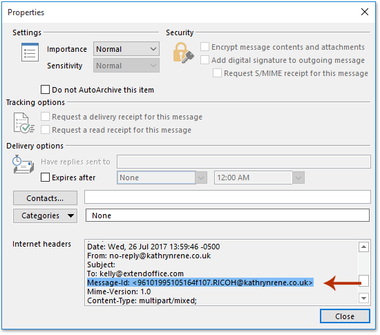 How to find message ID of an email in Outlook?