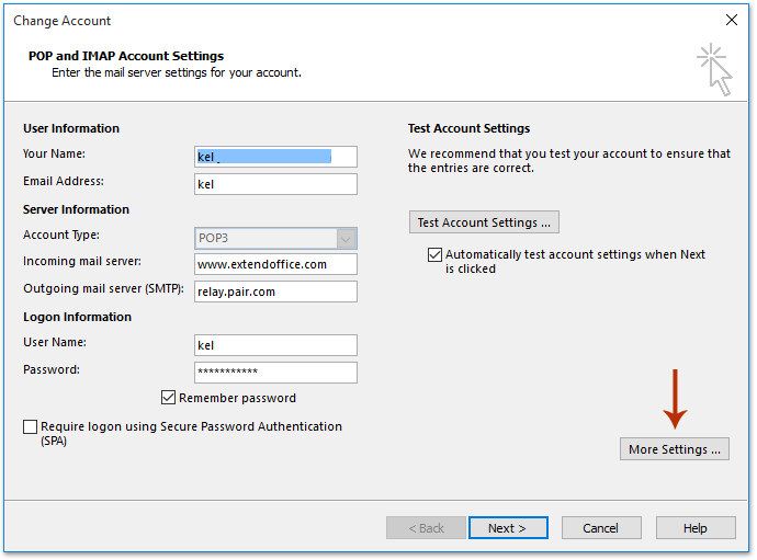how to find port number of pop3 imap email account in outlook