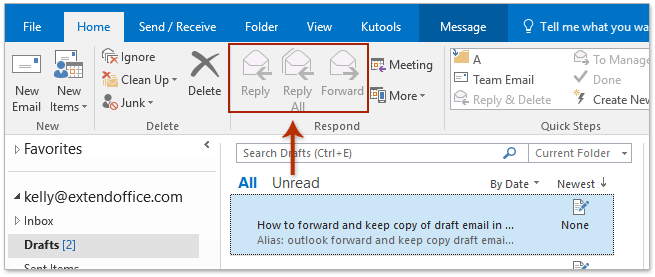 How to forward and keep copy of draft email in Outlook?