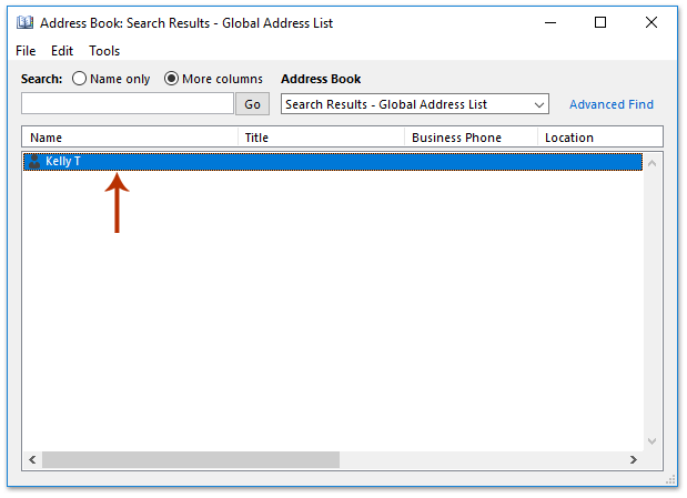 How to search global address list by last name in Outlook?