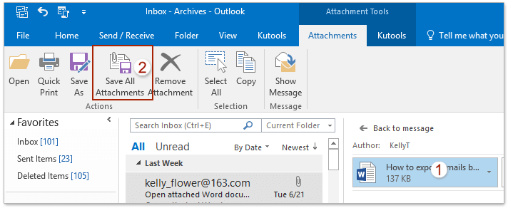 How to get all attachments from archived emails in Outlook?