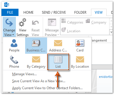 How to group contacts by company in Outlook?
