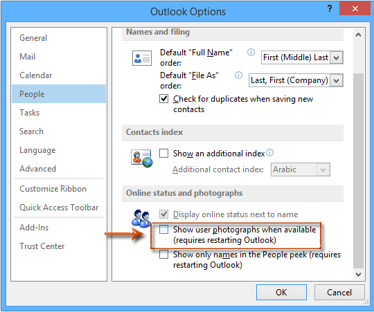 How to hide contact photos in emails in Outlook?