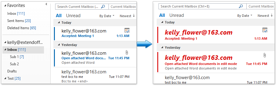 How to highlight unread (new incoming) email messages in Outlook?