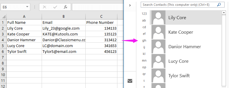 doc import contacts from excel 1