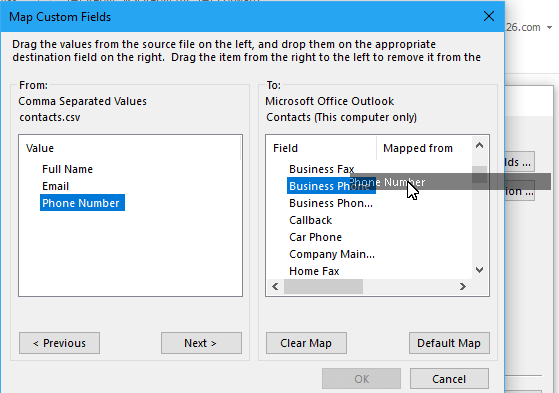 doc import contacts from excel 11