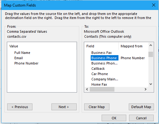 doc import contacts from excel 12