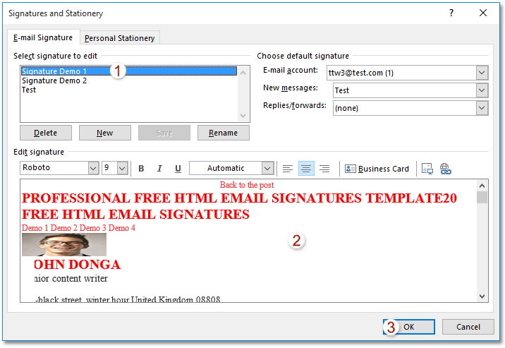 How to change signature block in outlook office 365