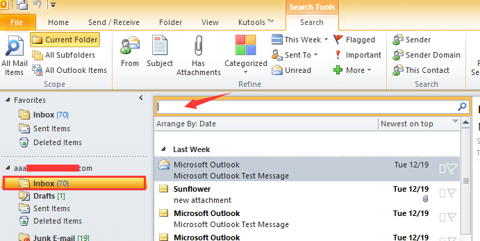 How to list all emails with attachments in Outlook?