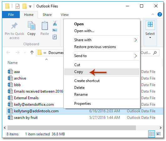 How to move/copy emails from one account to another in Outlook?