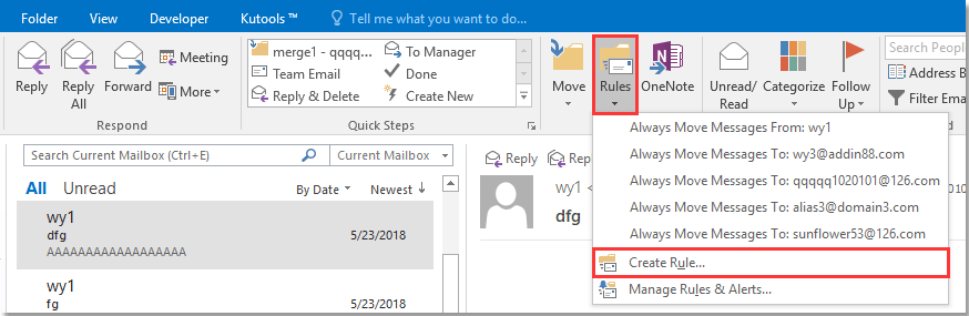 doc move email to folder based on subject 1