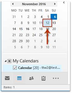 How to bold dates in small calendar on Navigation Pane in