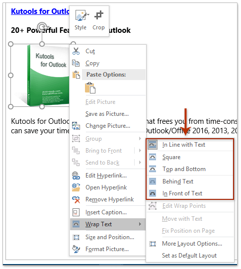 How to align or float images in Outlook signatures?