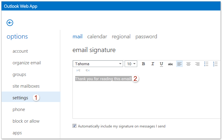 How to add/edit/delete signature in Outlook Web App (OWA)?
