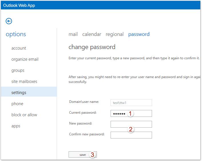 microsoft office 2016 outlook change password