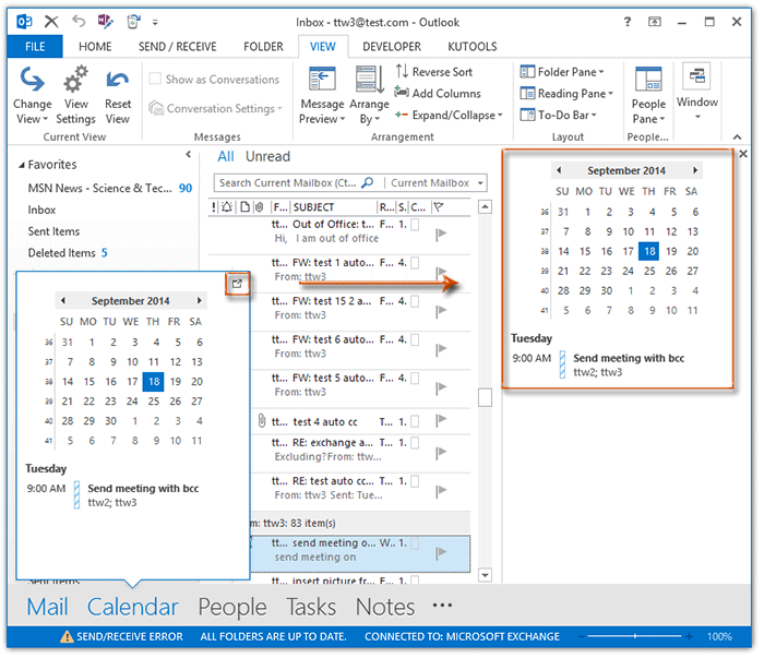 How to show and disable calendar peek view in Outlook?
