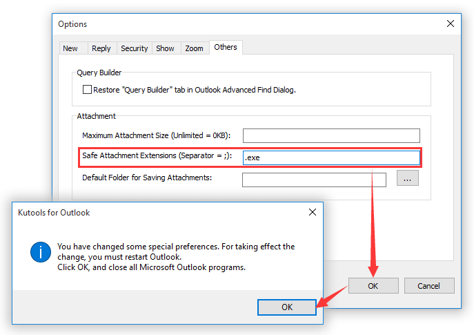 How to prevent Outlook from blocking attachments?