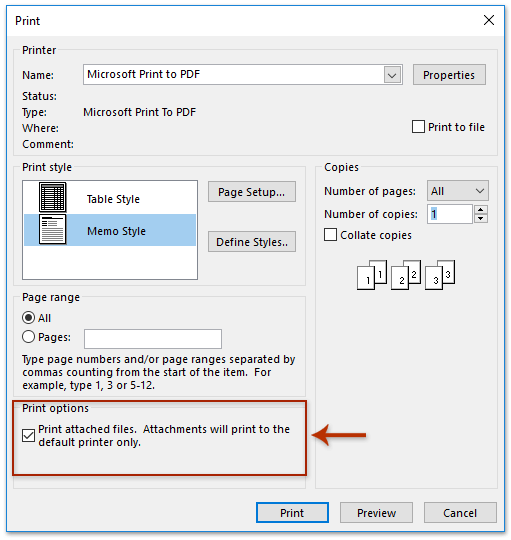 How to print all attachments in one/multiple emails in Outlook?