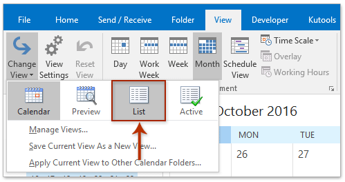 How to print an Outlook calendar in a list form?