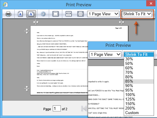 How to shrink and fit to pages when printing in Outlook?