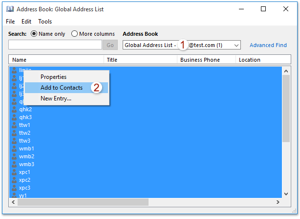 How to print global address list (address book) in Outlook?