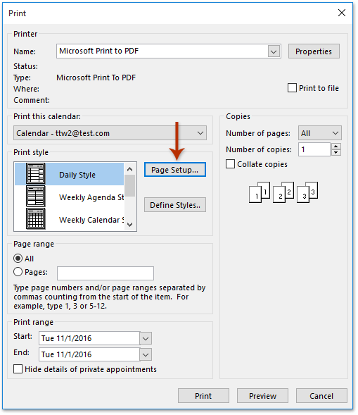 How to print an Outlook calendar in 15-minute increments?