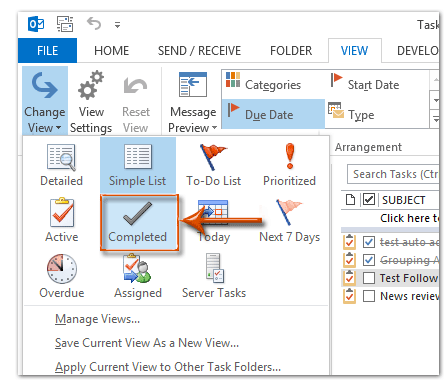 How to hide or remove completed tasks in Outlook?
