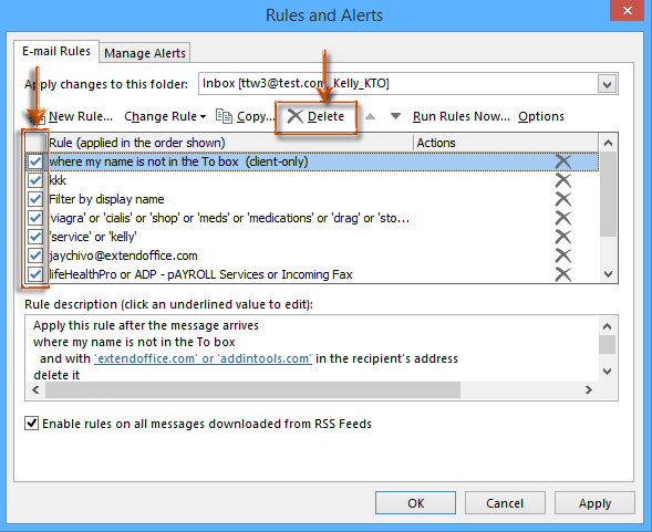 How to turn off or remove all rules in Outlook?