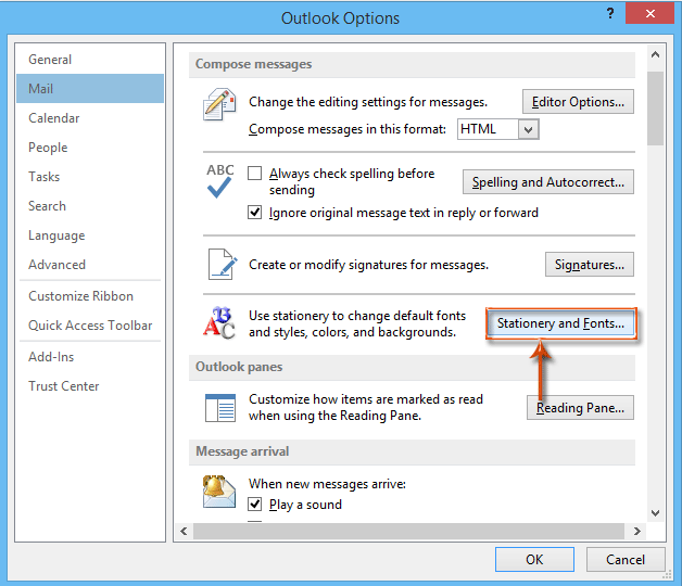 How to change my font size in outlook