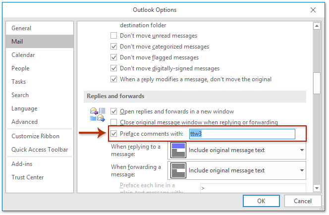 How to reply with my name brackets or sender name in Outlook?