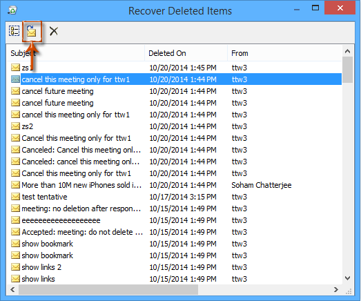 How to restore deleted meetings/contacts in Outlook?